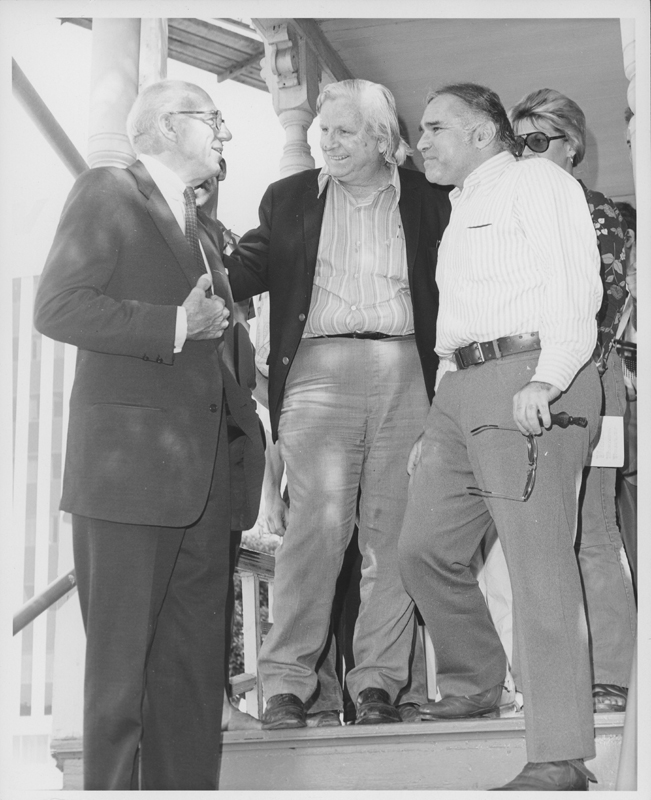 Morris Kight (center) and  Dr. Newton Deiter greet Dr. Benjamin Spock at the Gay Community Services Centern (GCSC). 1971.