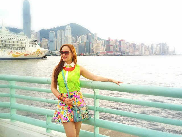 Neon Shirt, Floral Skirt, Plastic Neckpiece