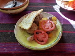 Potatoes and fried cheese for dinner on Isla Amantani on Lake Titicaca.