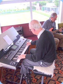 A rare shot of Peter Brophy actually playing at the Club! Peter was trying out the Korg Pa3X to see if it would suit his future needs. In the background Brian Gunson accompanied on his electric guitar. Rumour has it that his trusted Samick guitar of 30 years acquaintance is about to be retired for a state-of-the-art instrument.