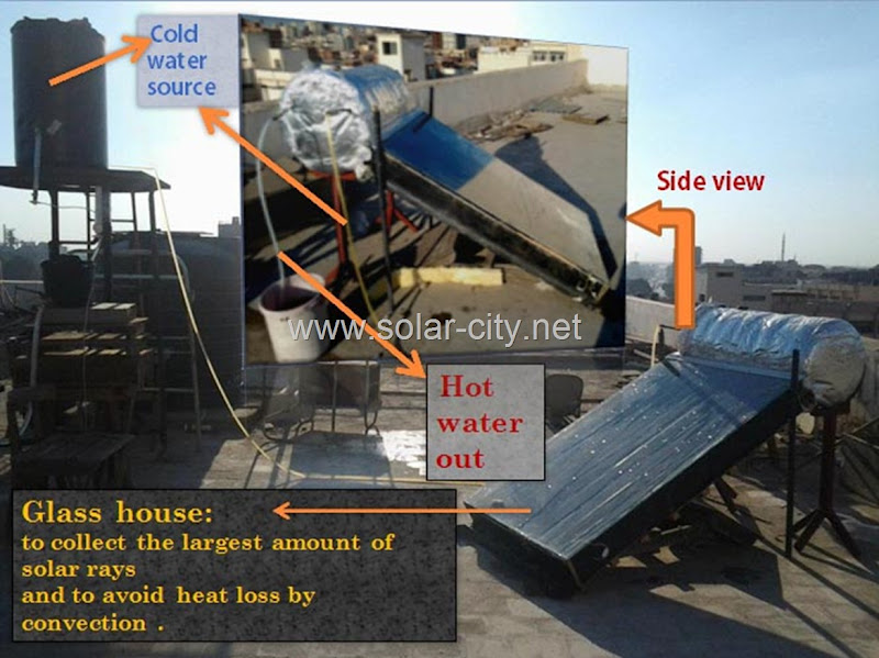 homemade solar water heater- total view - solar city