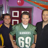 Comedian Dave Hughes with Ranger players Daniel Williams and Grantlee O'Sullivan