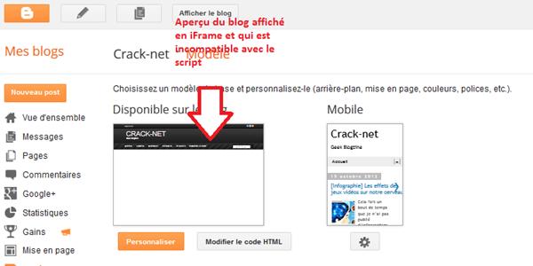 Aperçu du blog affiché en iframe incompatible avec le script anti-iframe