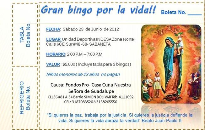Boleta Bingo Provida 23  jun 2012