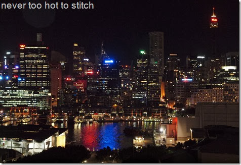 night skyline from balcony