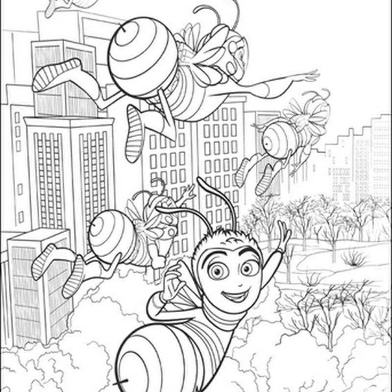 Desenho - Abelhas na Cidade - Colorir e Pintar