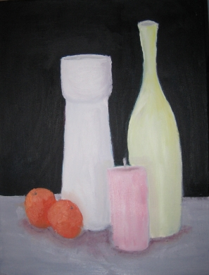 Still life paintings are classic and relaxing images to have in the home.  'Vases, Candle, and Tangerines', painting by Bernard Victor.  (zatista.com)