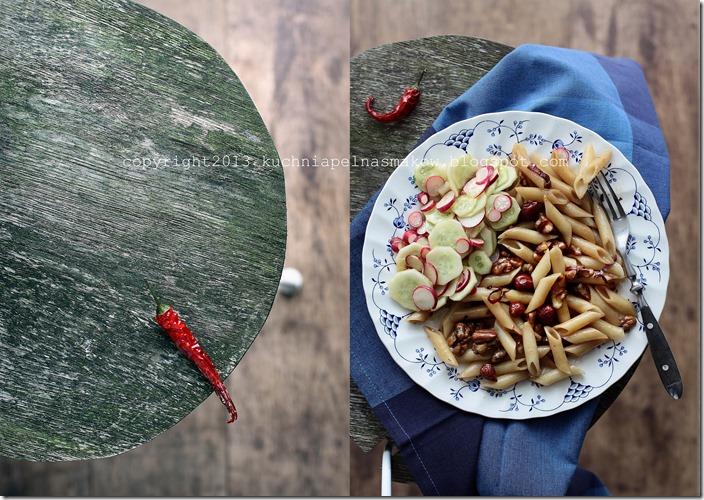 Makaron chili z orzechami i cukinią