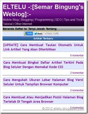 Model Halaman Blog Versi Mobile