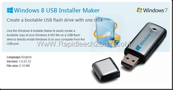 Download Win8USB - Windows 8 USB Installer Maker 1.0.23.12 | Create A bootable USB flash drive with one click