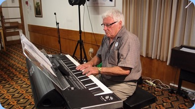 Our guest artist, Rod Moffat, was our guest artist and brought along his magnificent Korg Pa3X 76 note arranger keyboard. Thanks for a great concert Rod! Photo courtesy of Dennis Lyons.