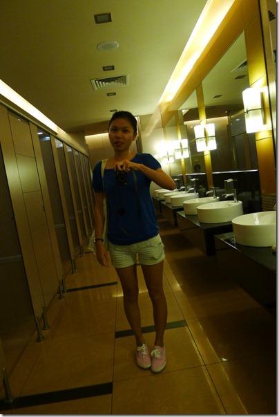 blue blouse x pink canvas shoes