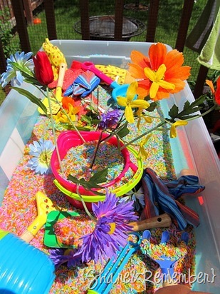 Rainbow Rice & Garden Sensory Play