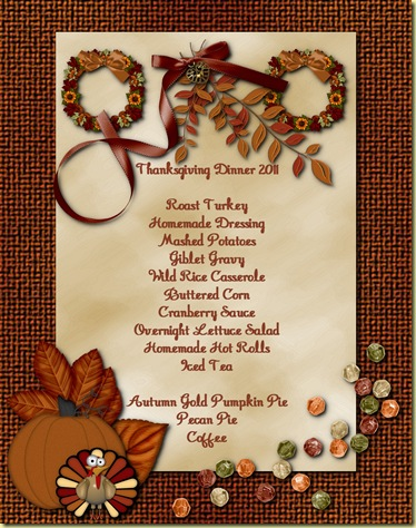 Thanksgiving Menu 2011