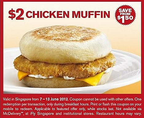 McDonalds McMuffin Chicken Offer $2 breakfast cheese a la carte order Great Singapore SALE flash mobile Singapore restaurants fast food except iFLY, Sentosa, schools