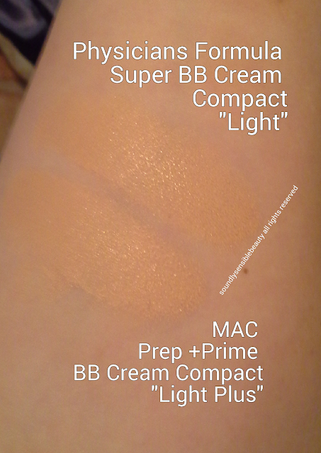 Physicians Formula Super BB All-in-1 Beauty Balm Compact Cream SPF 30 Review & Swatches of Shades Light/Medium vs Mac Prep + Prime BB Beauty Balm Compact Cream SPF 30 in Light Plus