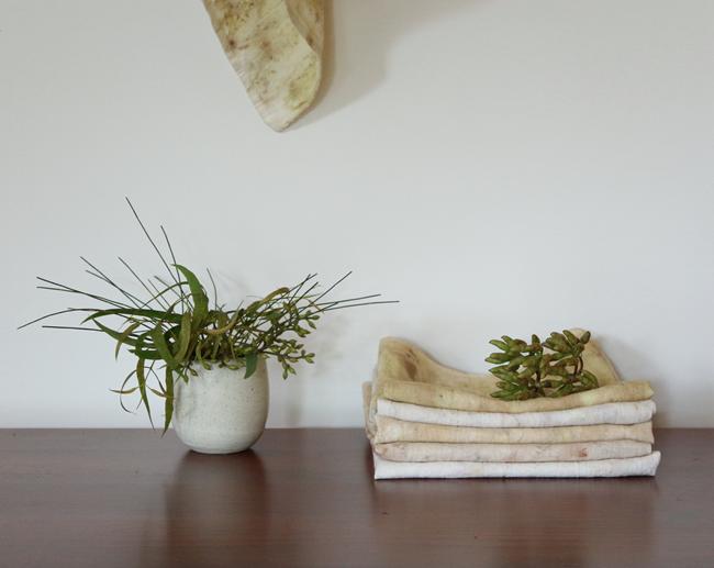 Modern Australiana botanical dyed linen tea towel by Alchemy 2