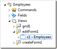 Path to Employees category in Code On Time Designer