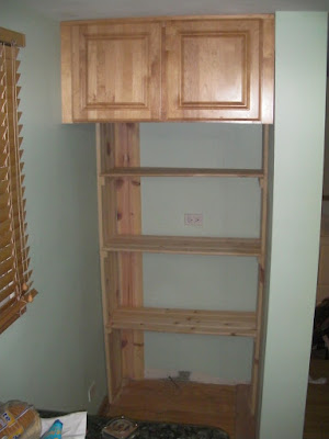 The start of the shelves in the pantry.