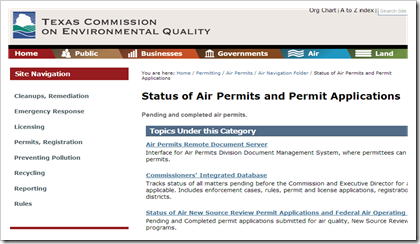 TCEQ Texas Commission of Environmental Quality Status of Air Permits and Applications