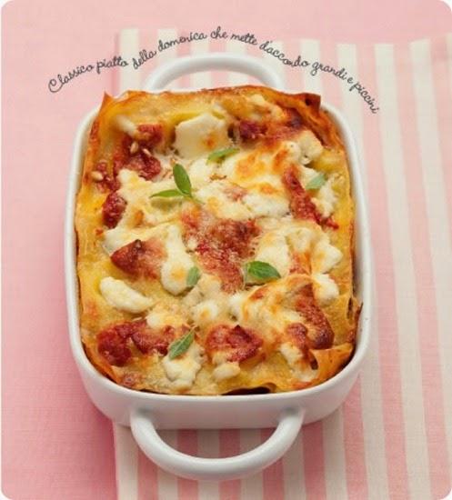 Lasagne con melanzane, ricotta e basilico