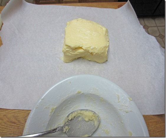 Salted butter being wrapped