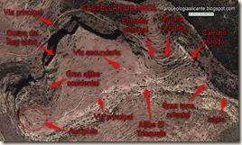 Plano del Castellar de Meca con los hitos principales
