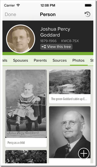 Person view of the FamilySearch - Tree app