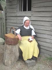 Plimoth Plantation 8.30.2-13 Pilgrim lady resting