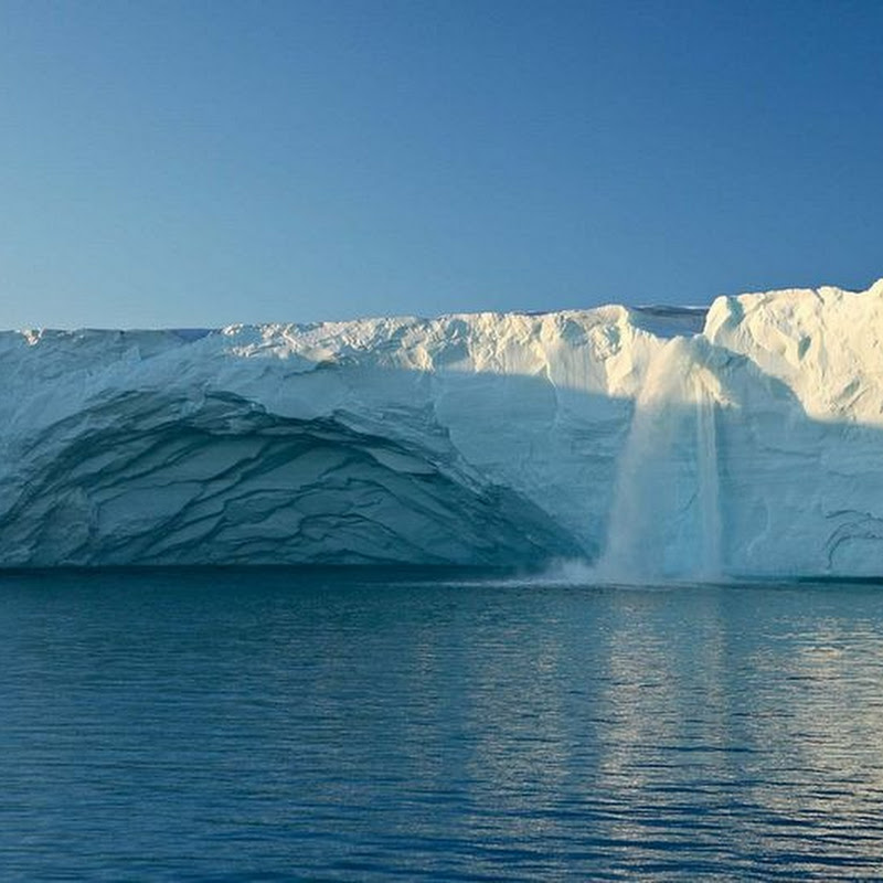 Magnificent Glacier Waterfalls in Svalbard, Norway