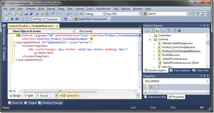 Default User Control markup in Visual Studio