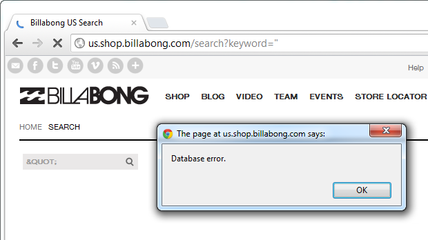 Search for double quote returning database error