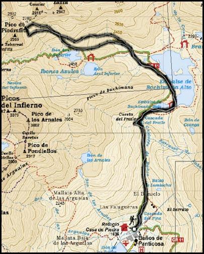 Intento al Corredor Nefropatia 200m D  90º (Pico Piedrafita 2965m, Pirineos) (Mapa)