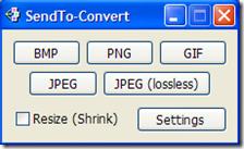 SendTo-Convert finestra per la scelta del formato di conversione