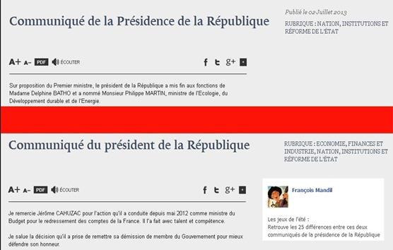 comunicats comparats de la presidéncia Hollande