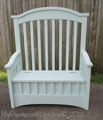 repurposed crib toybox bench 