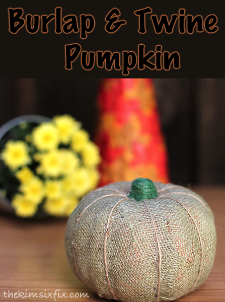 Burlap and twine pumpkin made with Mod Podge and a Dollar Store pumpkin