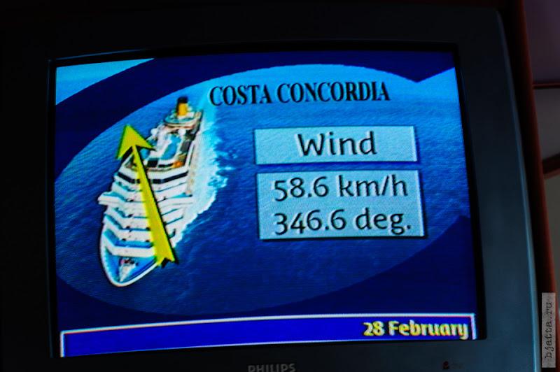 27. Круиз на Costa Concordia. День 7-й. Морской день, из Фуншала в Малагу, через гибралтар. Ветер нарастает, потом мы его хорошо почувствовали.