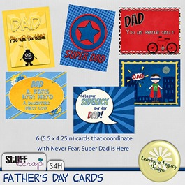 Never Fear Super Dad's Here  CARDS