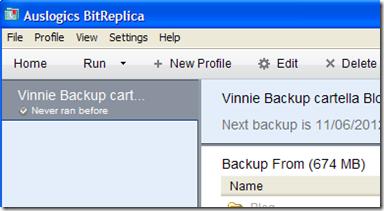 BitReplica avvio del backup