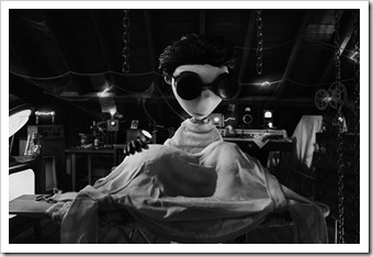 """FRANKENWEENIE""..Surrounded by equipment in his attic lab, Young Victor (voiced by Charlie Tahan) attempts to bring his beloved dog Sparky back to life with lessons he learned about electricity from his science teacher Mr. Rzykruski (voiced by Martin Landau).  From Walt Disney Pictures, ""Frankenweenie"" opens in theaters nationwide on October 5, 2012...Film Frame..© Disney Enterprises, Inc.  All Rights Reserved..."