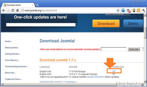 kesan link muat turun Joomla 1.7