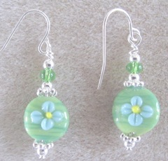 Cape green with blue flower earrings