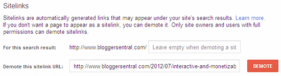 remove sitelinks in webmaster tools
