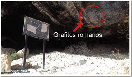 Situación de los grafitos romanos fácilmente visibles - Cueva Negra - Fortuna