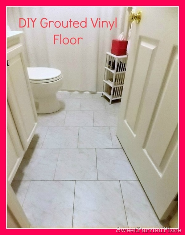 DIY grouted vinyl tile floor