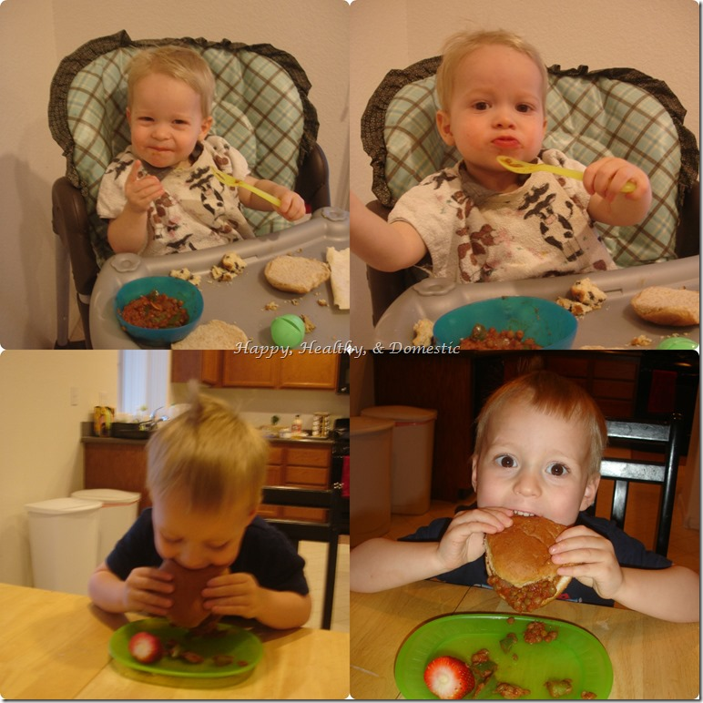 vegetarian lentil joes boys eating