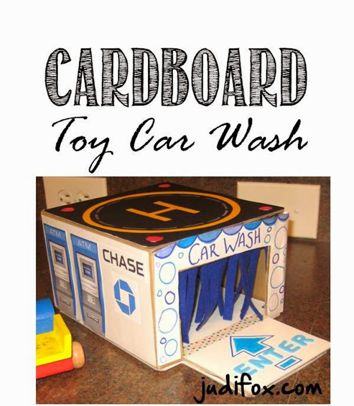 Cardboard Toy Car Wash, Helicopter Pad, ATM, and Gas Station Pump Valero, Chase Bank