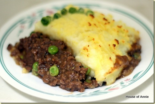 plate of cottage pie