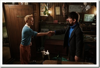 (L to R) Tintin (Jamie Bell) and Captain Haddock (Andy Serkis) in THE ADVENTURES OF TINTIN: THE SECRET OF THE UNICORN.
